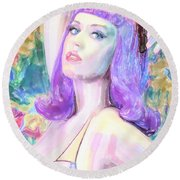 Katy Perry Watercolor, Round Beach Towel