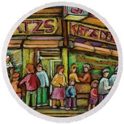 Katzs Delicatessan New York Round Beach Towel