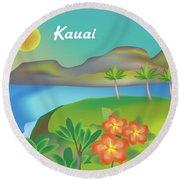 Kauai Hawaii Horizontal Scene Round Beach Towel