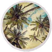 Kauai Island Palms - Blue Hawaii Photography Round Beach Towel