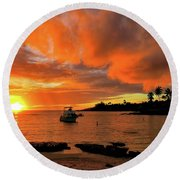 Kauai Sunset And Boat At Anchor Round Beach Towel