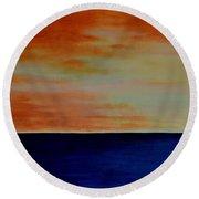 Kauai Sunset Under Vog Round Beach Towel