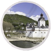 Kaub And Burg Pfalzgrafenstein Round Beach Towel