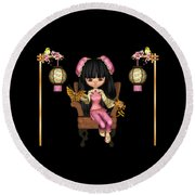 Kawaii China Doll Scene Round Beach Towel