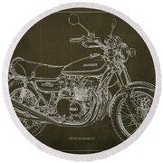 Kawasaki Motorcycle Blueprint, Mid Century Brown Art Print Round Beach Towel