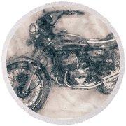 Kawasaki Triple - Kawasaki Motorcycles - 1968 - Motorcycle Poster - Automotive Art Round Beach Towel