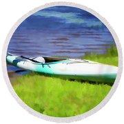 Kayak In Upstate Ny Round Beach Towel