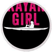 Kayak Kayak Girl Pink Gift Light Round Beach Towel