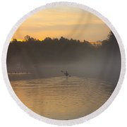 Kayak On The River At Dawn Round Beach Towel