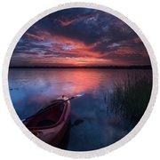 Kayak Sunrise Round Beach Towel
