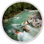 Kayaker Shooting The Cold Emerald Green Alpine Water Of The Uppe Round Beach Towel