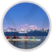 Kayakers In Alaska Round Beach Towel