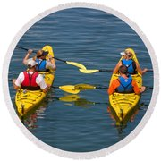 Kayakers In Bar Harbor Maine Round Beach Towel
