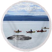 Kayakers Paddle To Fishing Cone On Yellowstone Lake Round Beach Towel
