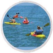 Kayaking Friends Round Beach Towel