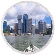 Kayaking On The Brisbane River Round Beach Towel