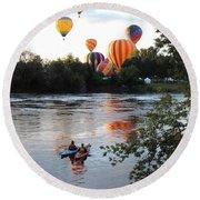 Kayaks And Balloons Round Beach Towel