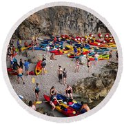 Kayaks On A Beach Round Beach Towel