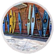 Kayaks On A Wall  Round Beach Towel