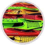 Kayaks Round Beach Towel