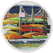 Kayaks Stacked On Shem Creek Round Beach Towel