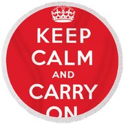 Keep Calm And Carry On Round Beach Towel by English School