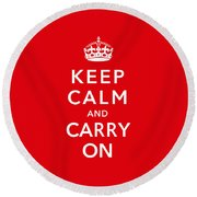 Keep Calm And Carry On Round Beach Towel