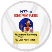 Keep The Home Front Pledge Round Beach Towel