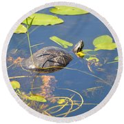 Keeping His Head Above Water Round Beach Towel