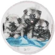 Keeshond Puppies Round Beach Towel