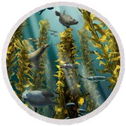 Kelp Forest With Seals Round Beach Towel