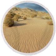 Kelso Dunes Mojave Preserve Portrait Round Beach Towel