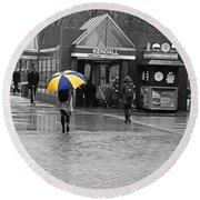 Kendall Square Rainy Day Cambridge Ma Blue And Yellow Round Beach Towel