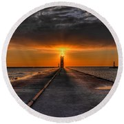 Kenosha Lighthouse Beacon Round Beach Towel