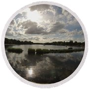 Kensington Clouds Round Beach Towel