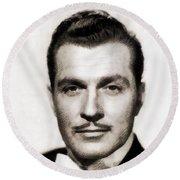 Kent Taylor, Vintage Actor Round Beach Towel