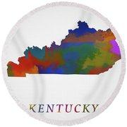 Kentucky Map Round Beach Towel