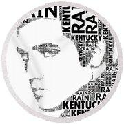 Kentucky Rain Elvis Wordart Round Beach Towel