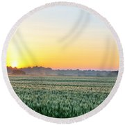 Kentucky Wheat Crop Round Beach Towel