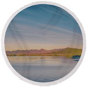 ketchikan alaska downtown of a northern USA town Round Beach Towel
