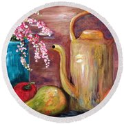 Kettle And Fruit Round Beach Towel