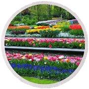 Keukenhof Tulips Ornamental Garden  Round Beach Towel