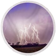 Kewl Nebraska Cg Lightning And Krawlers 038 Round Beach Towel