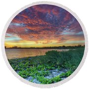 Key Biscayne Sunset Round Beach Towel