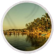 Key Largo Gold  Round Beach Towel