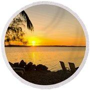 Key Largo Sunrise Round Beach Towel