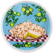 Key Lime Pie Mini Painting Round Beach Towel