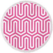 Key Maze With Border In French Pink Round Beach Towel