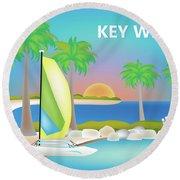 Key West Horizontal Scene Round Beach Towel