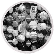 Key West Lobster Buoys Black And White Round Beach Towel